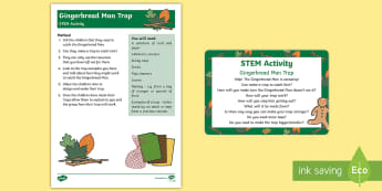 The Gingerbread Man Trap STEM Activity and Prompt Card Pack - The Gingerbread Man, Traditional Tales, ginger, construction, engineering, stem, building, designing
