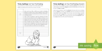 Tricky Spellings List Two - Proofreading Activity Sheet - Difficult, worksheet, common misspellings, literacy, SPAG, technical accuracy.