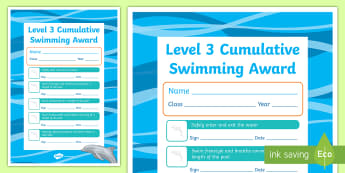 Level 3 Cumulative Swimming Certificate - Physical Education, Swimming, Aquatics, Level 3, certificates, awards, swim, learning, practice, ski