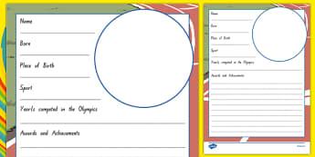 New Zealand Olympians Biography Activity Sheet, worksheet