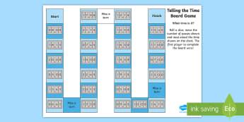 Telling the Time Digital Clocks Board Game - Telling the Time Games - Telling the time, games, time games, digital, clock, watch, display, time,