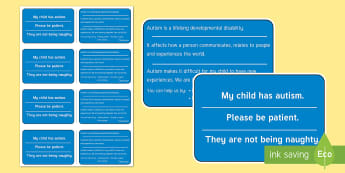 Autism Awareness Information Cards - Information Cards, ICE, in case of emergency, out and about, meltdowns, autism, ASD, parents