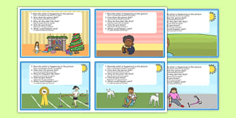 Inference Picture Cards Polish Translation - pictures, visual, activity, questions, inferential question, inferential questions, inferrence