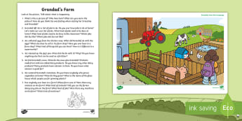Grandad's Farm Oral Language Activity - exploring my world, oral, language, talking, listening, poster, questioning, Aistear, Irish