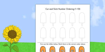 Summer Themed Cut and Stick Number Ordering Activity 1 10 - cut