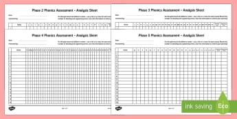 Phase 2 to 5 Phonics Letters and Sounds Analysis Pack - phase 2-5 phonics assessment, assessment pack, anaysis pack, phonics, letters and sounds, DFE, 2-5, literacy, phonics, planning and assessment, checklists