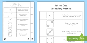 Roll the Dice Vocabulary Activity Sheet - Centers, Language, English, Reading, Dice Activities, worksheet