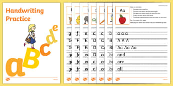 ABC Handwriting Sheets - Handwriting, writing, formation, letter, lines, words, practice, practise, worksheets,