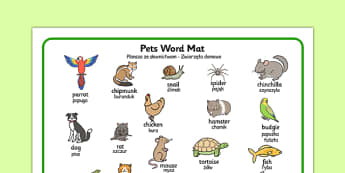 Pets Word Mat Polish Translation - polish, pets, word mat, word, mat, animals
