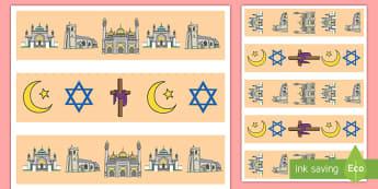 Inter Faith Week Display Borders - community, religion, RE, EYFS, KS1, KS2,