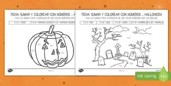 Halloween sumar hasta 20 Colorear con números