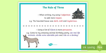The Rule of Three Example A4 Display Poster - description, adjectives, persuasive, three, impact,