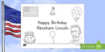 Presidents' Day Happy Birthday Abraham Lincoln Coloring Page - Presidents' Day, Abraham Lincoln