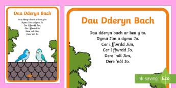 Hwiangerdd 'Dau Dderyn Bach' - Caneuon, Dau Aderyn Bach, Dau Dderyn Bach,Welsh.
