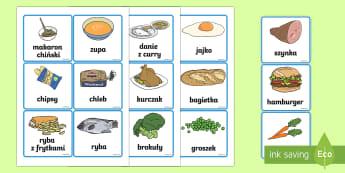 Karty Żywność - jedzenie, jeść, owoce, warzywa, zdrowe, odżywianie,Polish