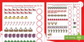 Counting at Christmas Up to 15 Activity Sheet - counting, christmas, worksheet, up to 20, count,chritmas,chriatmas,christms,christams,chrismas,chrit