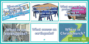 Earthquake Key Questions Display Posters - New Zealand Natural Disasters, earthquake, tsunami, volcano, monsoon, hurricane, flood, tornado