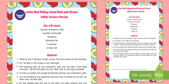 EYFS Little Red Riding Hood Edible Sensory Recipe - Little Red Riding Hood, baby, babies, baby, babies, food, red, green, sensory, jelly, recipe