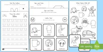 Letter M Activity Pack - Alphabet Packets, Letter Formation, Letter Identification, Beginning Sound, EYFS, KS1, Kindergarten,