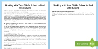Dealing with Bullying Parent and Carer Information Sheet - wellbeing, health, fitness, parents, carers, bullying, support, emotional health, mental health