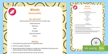 Wheels Sensory Bottle - Transport and Travel, baby sensory, cars, trucks, discovery bottle, i spy bottle, circles, turning,