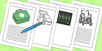 Ambulance Service Writing Frames - ambulance, writing, frames
