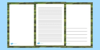 Green Camouflage Page Borders - writing aid, writing template