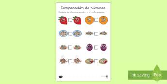 Ficha de comparar números: La comida - números, anterior y posterior, mayor, menor, igual, signos matemáticos, comer, dieta, alimentació