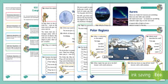 KS1 Polar Regions Focused Reading Skills Comprehension Pack - Frozen Kingdom, Poles Apart, reading dogs, SATs, inference, deduction, reading content domains,
