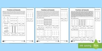 Year 2 Fractions of Amounts Homework Worksheet / Activity Sheet - maths, worksheet, half, quarter, grouping, sharing, sets, division