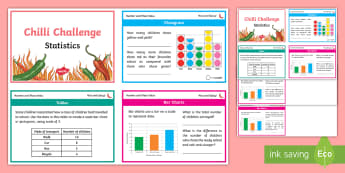 Chilli Challenge Year 3 Statistics Differentiated Maths Challenge Cards - pictogram, table, bar chart, scale, total, find the difference, interpret, present, problem solve, o