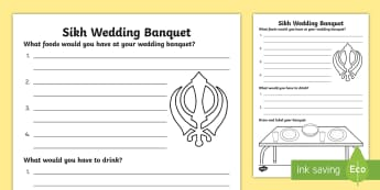 KS1 Sikh Wedding Banquet Worksheet / Activity Sheet - Marriage, Religion, Sikh, Sikhism, Celebration,worksheet