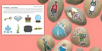 Storytelling Story Stones Image Cut Outs Arabic/English - National Storytelling Week, Traditional Tales, Fairy Tales, EAL, Arabic.,Arabic-translation