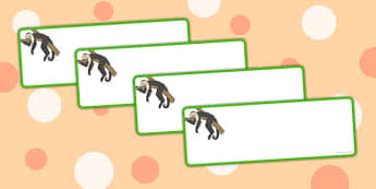 Monkey Themed Drawer Labels - monkey, drawer labels, labels