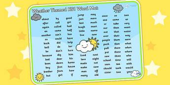 Weather Themed KS1 Word Mat - seasons, visual aid, key words