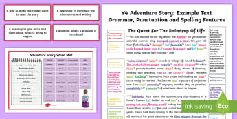 Y4 Story Writing: Adventure Model/Example Text - wagoll, moderation, moderated, sample, mountain, genre, exemplification, ARE