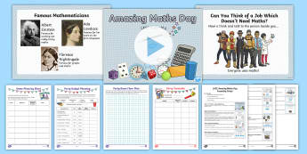 LKS2 Amazing Maths Day Resource Pack - world maths day, party planning, planning activities, y3, y4, nspcc number day