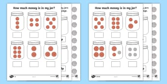How Much Money Is in My Jar? British Money Differentiated Worksheet / Activity Sheets - how much money, money jar, money, differentiated, worksheets