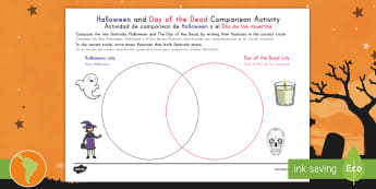 Halloween and Day of the Dead Comparison Activity US English/Spanish (Latin) - Halloween, october, festival, autumn, celebration, spooky, ghosts, witch, zombies, Mexico, Day of th