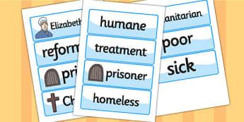 Elizabeth Fry Word Cards - elizabeth fry,  word cards, themed word cards, cards of words, key word, topic words, words, writing aid, writing guide, keyword