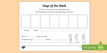NI KS1 Numeracy Days of the week Worksheet / Activity Sheet - NI KS1 Numeracy, days of the week, calendar, handling data, worksheet