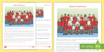 School Uniforms Point of View Worksheet / Activity Sheet - Persuade, Author, reading, Comprehension, information writing, argument, reading response, worksheet