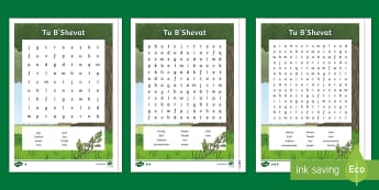 KS2 Tu B'Shevat Differentiated Word Search - Judaism, New Year, Trees, Festival, Israel, Fruit, Word search