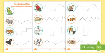 Pets Themed Cutting Skills Activity Sheets English/German  - Pets, cat, dogs, rabbits, worksheets, cutting, scissor skills, fine motor, , activity sheet,German-t