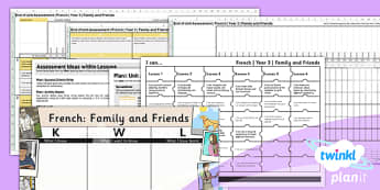 French: Family and Friends Year 3 Unit Assessment Pack