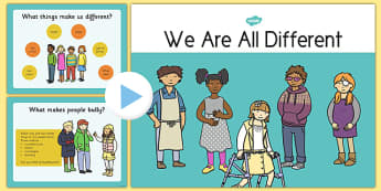 We Are All Different: Anti-Bullying PowerPoint - CfE, Health, Differences, anit-bullying, powerpoint