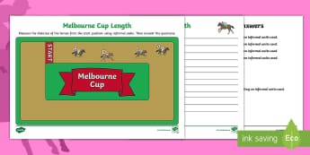 Melbourne Cup Length Activity Sheet - Maths, mathematics, horse racing, worksheet, measurement and geometry, measuring, informal units, le