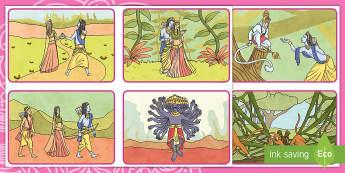 Cardiau Trefnu Stori Rama a Sita - diwali, trefnu stori, rama a sita, Addysg Grefyddol, Stori diwali,Welsh-translation