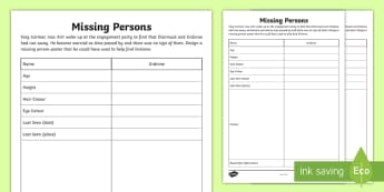 Missing Persons Poster for Diarmuid and Gráinne Activity Sheet - Irish Tales, Celtic, the Fianna, Fionn, Irish Myth,Irish