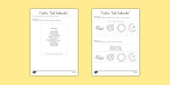 Ficha de actividad de la canción - Sol Solecito - canción de cuna, cantar, bailar, tradicional